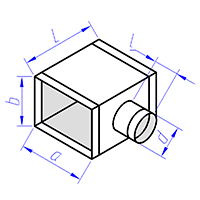тройник прямоугольного сечения с круглой врезкой